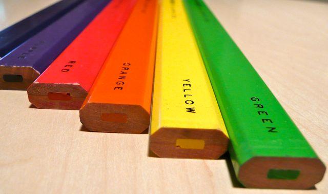 Les crayons de charpentiers de couleurs